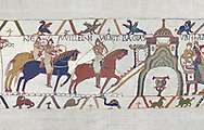Bayeux Tapestry scene 22:  Duke William and Harold ride to Bayeux after defeating Duke of Britany. BYX22 .<br /> <br /> If you prefer you can also buy from our ALAMY PHOTO LIBRARY  Collection visit : https://www.alamy.com/portfolio/paul-williams-funkystock/bayeux-tapestry-medieval-art.html  if you know the scene number you want enter BXY followed bt the scene no into the SEARCH WITHIN GALLERY box  i.e BYX 22 for scene 22)<br /> <br />  Visit our MEDIEVAL ART PHOTO COLLECTIONS for more   photos  to download or buy as prints https://funkystock.photoshelter.com/gallery-collection/Medieval-Middle-Ages-Art-Artefacts-Antiquities-Pictures-Images-of/C0000YpKXiAHnG2k