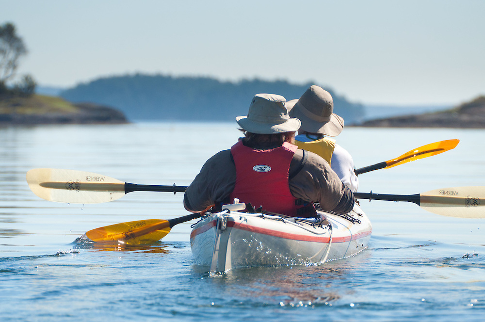 Brian and Nick Paddle out of Reid Harbor, Stuart Island, Washington, US