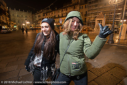 Kia Niedrich of Easyriders Germany and Ela Dutch of EICMA in the square after a great dinner at the 12 Apostles Restaurant (in continuous operation with the same name for almost 300 years) during Motor Bike Expo. Verona, Italy. January 23, 2016.  Photography ©2016 Michael Lichter.