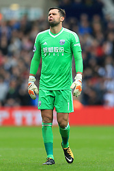 16th September 2017 - Premier League - West Bromwich Albion v West Ham United - West Brom goalkeeper Ben Foster pulls a funny face - Photo: Simon Stacpoole / Offside.