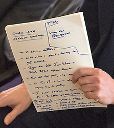 © Licensed to London News Pictures. 23/02/2015. Hastings, UK. David Cameron's notes.   British Prime Minister David Cameron makes a speech setting out the Conservative Party's fifth manifesto theme in Hastings East Sussex today 23rd February 2015. Photo credit : Stephen Simpson/LNP