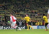 Dortmund's fans get behind their team despite being 1-0 down<br /> <br /> UEFA Champions League- Arsenal vs Borussia Dortmund- Emirates Stadium - England - 26th November 2014 - Picture David Klein/Sportimage