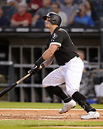 CHICAGO - JULY 24:  James McCann #33 of the Chicago White Sox bats against the Miami Marlins on July 24, 2019 at Guaranteed Rate Field in Chicago, Illinois.  (Photo by Ron Vesely)  Subject:   James McCann