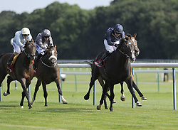Royal Artillery ridden by Colm O'Donoghue (dark blue) wins the Betfred Rose of Lancaster Stakes during Betfred Rose Of Lancaster Stakes Ladies Day at Haydock Park Racecourse. PRESS ASSOCIATION Photo. Picture date: Saturday August 6, 2016. See PA story RACING Haydock. Photo credit should read: John Giles/PA Wire.
