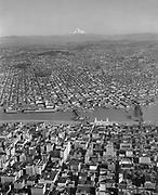 Y-551013-01.  Aerial of SW Portland, Willamette River, SE Portland and Mt. Hood. October 13, 1955