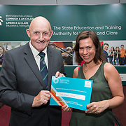 31.05.2018.          <br /> Limerick and Clare Education Training Board launch Youth Work Plan 2018-2021 at Thomond Park Limerick with Pat Breen TD, Minister of State with special responsibility for Trade, Employment, Business, EU Digital Single Market and Data Protection, Clare. <br /> <br /> Pictured at the event were receiving a NQSF Certificate fromCllr. Kieran O'Hanlon was Kirsty Boucher, Croom Project Foroige. Picture: Alan Place