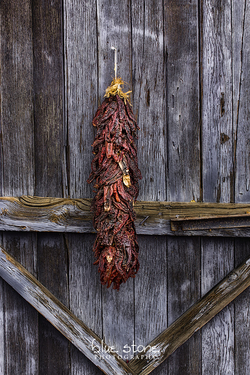 A traditional red chili riastra hanging on a faded blue wood door that is an iconic symbol of the American southwest.<br /> <br /> Wall art is available in metal, canvas, float wrap and standout. Art prints are available in lustre, glossy, matte and metallic finishes.