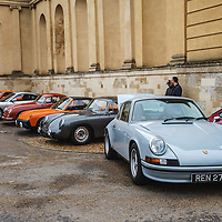 Porsches lined up at Rennsport Collective at Stowe House, Buckinghamshire, UK, on 1 November 2020