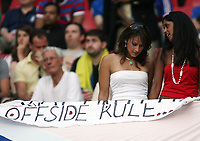 Photo: Chris Ratcliffe.<br /> Switzerland v Ukraine. 2nd Round, FIFA World Cup 2006. 26/06/2006.<br /> A couple of women discuss the offside rule.