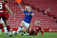 Liverpool women midfielder Rhiannon Roberts (4) tackles Everton women defender Kika van Es (5) during the FA Women's Super League match between Liverpool Women and Everton Women at Anfield, Liverpool, England on 17 November 2019.