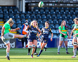Alex Callender of Worcester Warriors Women tries to charge down a kick to touch - Mandatory by-line: Nick Browning/JMP - 20/12/2020 - RUGBY - Sixways Stadium - Worcester, England - Worcester Warriors Women v Harlequins Women - Allianz Premier 15s