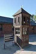 Booth where the SS man responsible for conducting the roll call and collecting reports on the number of prisoners took shelter during inclement weather. Auschwitz I Extermination Camp
