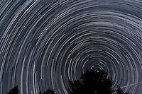 North View Star Trails. Summer Night in New Jersey.  Images taken with a Nikon D3s and 24 mm f/1.4G lens (ISO 400, 24 mm, f/4, 1/30 sec). Raw image processed including Nikon 24 mm f/1.4G Lens Correction with DxO Pro. Composite of 328 images combined with StarTrails Program.