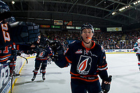 KELOWNA, CANADA - DECEMBER 29:  Luke Zazula #7 of the Kamloops Blazers celebrates a second period goal and the first goal of the game against the Kelowna Rockets on December 29, 2018 at Prospera Place in Kelowna, British Columbia, Canada.  (Photo by Marissa Baecker/Shoot the Breeze)