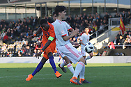 Daishawn Redan of Netherlands (9) strikes a shot at goal during the UEFA European Under 17 Championship 2018 match between Netherlands and Spain at the Pirelli Stadium, Burton upon Trent, England on 8 May 2018. Picture by Mick Haynes.