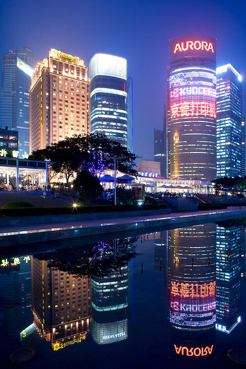 Skyline of buildings and restaurants at Lujiazui riverside, Pudong, Shanghai, China, Asia