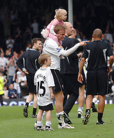 Erik Nevland (Fulham) with his two children after the match. Fulham v Birmingham City 3/5/2008 Credit : Colorsport / Andrew Cowie