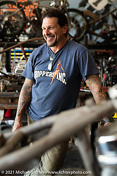 Billy Lane at his new Columbia, TN shop after the move from Florida. Tuesday, May 25, 2021. Photography ©2021 Michael Lichter.