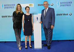 13.07.2019, BMW Welt, Muenchen, GER, Bayerischer Sportpreis Verleihung, im Bild Dr. Christine Theiss, Clara Klug und Joachim Herrmann // during the Bavarian Sports Award at the BMW Welt in Muenchen, Germany on 2019/07/13. EXPA Pictures © 2019, PhotoCredit: EXPA/ SM<br /> <br /> *****ATTENTION - OUT of GER*****