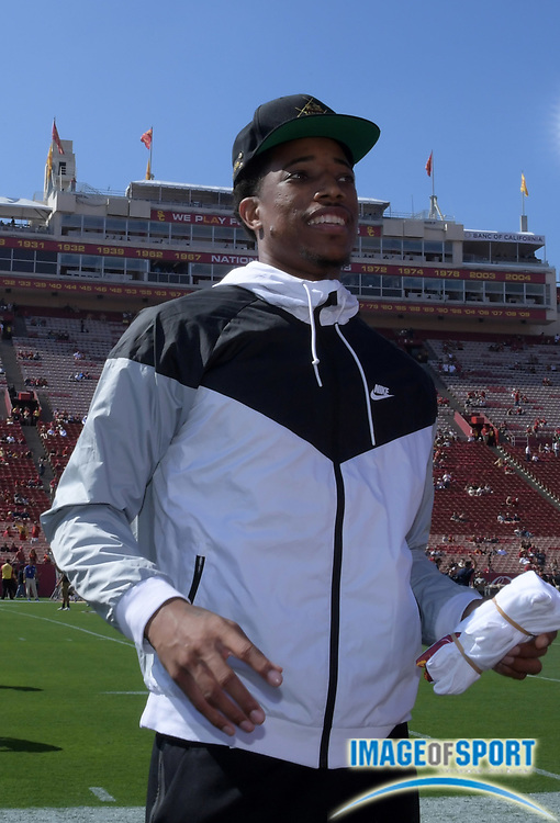 Sep 10, 2016; Los Angeles, CA, USA; Toronto Raptors and USC Trojans former guard DeMar DeRozan attends a NCAA football game against the Utah State Aggies at Los Angeles Memorial Coliseum.