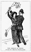 Votes for Women. A somewhat embarrassed British policeman experienceing difficulty in arressting a militant suffragette. Cartoon from 'Punch', London, 3 December 1913.