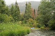 USGS and NOAA fisheries biologists perform a rafting survey of the Yakima River near Cle Elum, Washington on August 20, 2007.