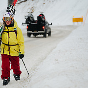 Natalie Segal hikes back to the truck after some early season skiing in the Tetons near Wilson, Wyoming.