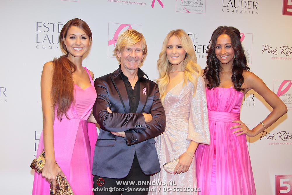 NLD/Amsterdam/20110929 - Inloop Estee Lauder Pink Ribbon Award Gala 2011 in de Beurs van Berlage, Addy van den Krommenacker met de modemeisjes Tamara Elbaz, Josh Veldhuizen, Maria Tailor