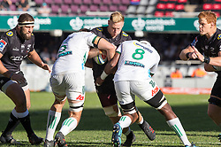 DURBAN, SOUTH AFRICA - MAY 19: Daniel Du Preez of the Cell C Sharks on attack during the Super Rugby match between Cell C Sharks and Chiefs at Jonsson Kings Park on May 19, 2018 in Durban, South Africa. Picture Leon Lestrade/African News Agency/ANA
