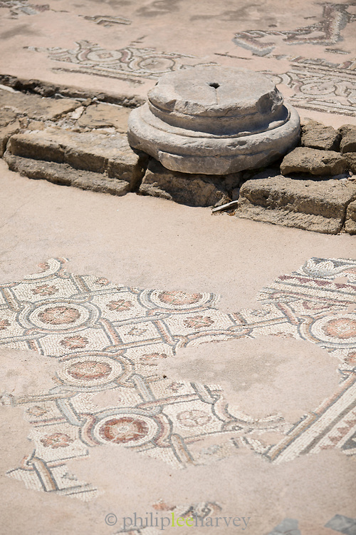 Mosaic at old ruins captured from high angle, Paphos, Cyprus
