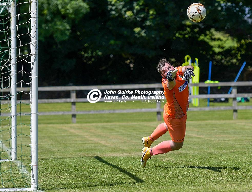 Duleek goalkeeper, Adam Byrne, makes a great save,  during the Trim Celtic v Duleek, NEFL (Premier) match in Tully Park, Trim.<br /> <br /> Photo: GERRY SHANAHAN-WWW.QUIRKE.IE<br /> <br /> 18-07-2021