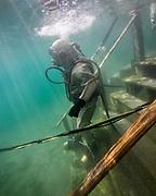 US Navy Mark-V commercial diver at Dutch Springs, Scuba Diving Resort in Bethlehem, Pennsylvania