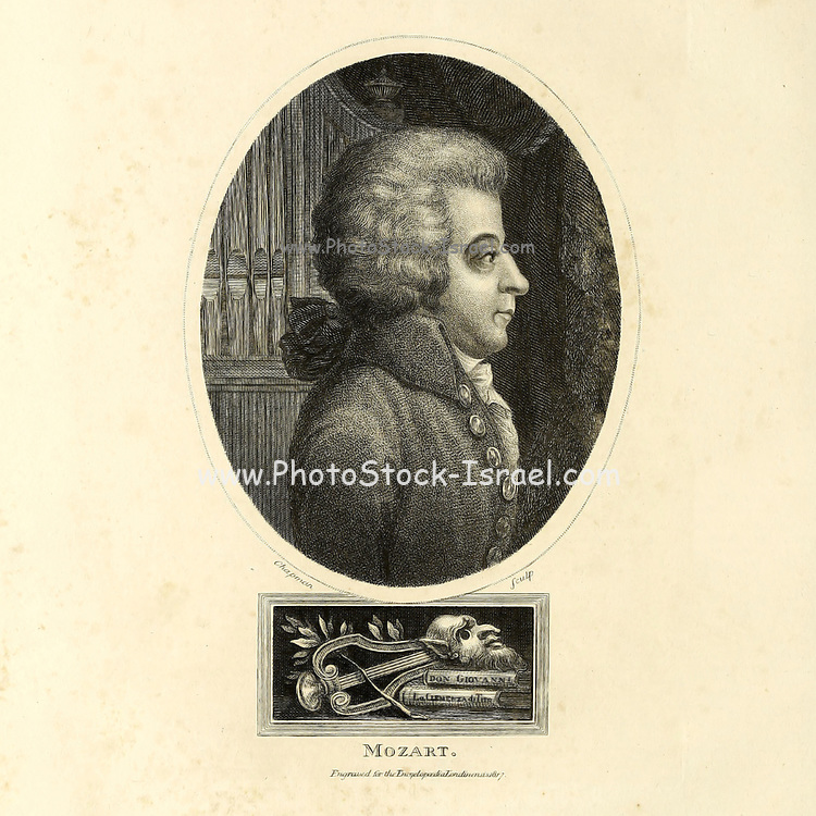 Wolfgang Amadeus Mozart (27 January 1756 – 5 December 1791), baptised as Johannes Chrysostomus Wolfgangus Theophilus Mozart,[b] was a prolific and influential composer of the Classical period. Copperplate engraving From the Encyclopaedia Londinensis or, Universal dictionary of arts, sciences, and literature; Volume XVI;  Edited by Wilkes, John. Published in London in 1819