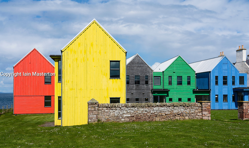 The Inn at John O' Groats colourful modern architecture of hotel at John O'Groats on  North Coast 500 scenic driving route in northern Scotland, UK