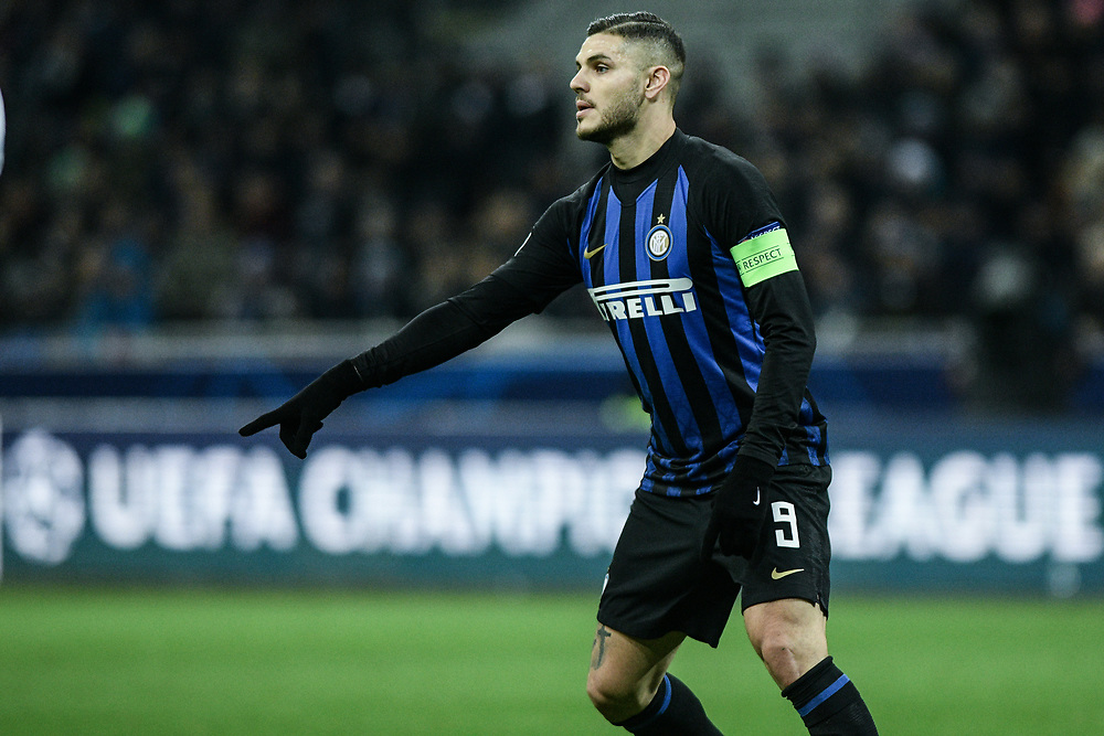 Forward Mauro Icardi (Inter) gestures during the UEFA Champions League football match, Inter Milan vs PSV Eindhoven at San Siro Meazza Stadium in Milan, Italy on 11 December 2018