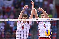 Bartlomiej Lemanski, Dawid Konarski of Poland during the CEV Volleyball European Championship game Poland - Slovenia on August 30, 2017 in Krakow, Poland. (Photo by Krzysztof Porebski / Press Focus)
