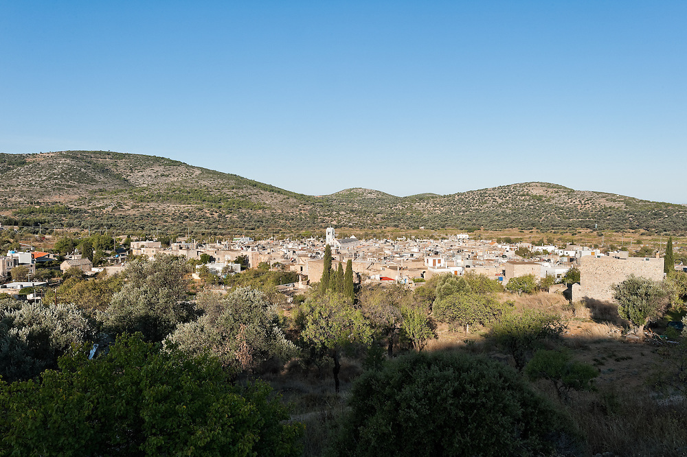 Overview of Mesta Village in Chios island.