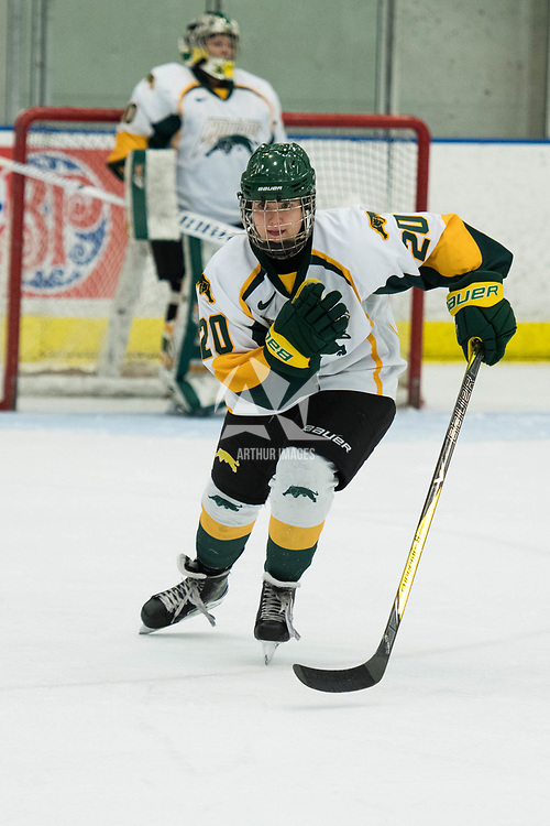 2nd year defence man Mariah McKersie (20) of the Regina Cougars in action during the Women's Hockey Homeopener on October 7 at Co-operators arena. Credit: Arthur Ward/Arthur Images