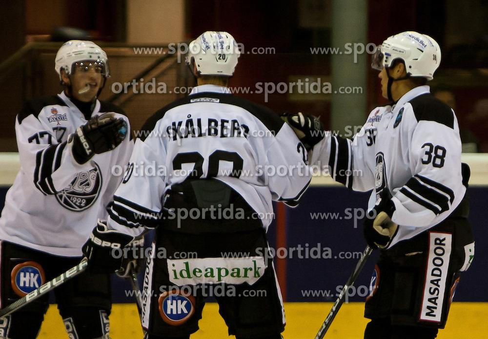 04.09.2010, Eishalle, Zell am See, AUT, Red Bull Salute, TPS Turku vs Jokerit Helsinki, im Bild Torjubel bei TPS Turku, Mario Valery-Trabucco, (F, TPS Turku, #77), Jens Skålberga, (D, TPS Turku, #20), Sami Venäläinena, (F, TPS Turku, #38), EXPA Pictures © 2010, PhotoCredit: EXPA/ J. Feichter