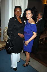 Left to right, BARONESS AMOS and NANCY DELL'OLIO at a party to celebrate the publication of Dell'Olio's book 'My Beautiful Game' held at the Italian Embassy, Grosvenor Square, London on 17th April 2008.<br />