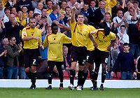 Photo: Leigh Quinnell.<br /> Watford v Sheffield United. Coca Cola Championship.<br /> 17/09/2005. Watfords darius Henderson celebrates his goal with his team mates.