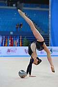 Russo Alessia during qualifying at ball in the Pesaro World Cup April 10, 2015. Alessia is an Italian individual rhythmic gymnast, she was born on September 24,1996 in Figline Valdarno, Italy.