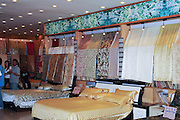 China, Shanghai Silk factory visitor Center Silk products on display in the show room