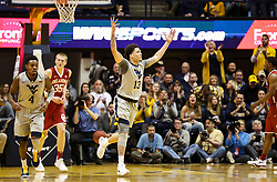 Jan 6, 2018; Morgantown, WV, USA; West Virginia Mountaineers forward Teddy Allen (13) celebrates after making a basket during the first half against the Oklahoma Sooners at WVU Coliseum. Mandatory Credit: Ben Queen-USA TODAY Sports