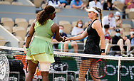 Serena Williams of the United States and Elena Rybakina of Kazakhstan at the net after the fourth round of the Roland-Garros 2021, Grand Slam tennis tournament on June 6, 2021 at Roland-Garros stadium in Paris, France - Photo Rob Prange / Spain ProSportsImages / DPPI / ProSportsImages / DPPI