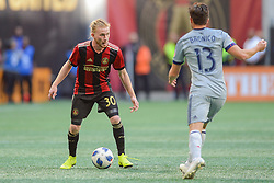 October 21, 2018 - Atlanta, GA, U.S. - ATLANTA, GA Ð OCTOBER 21:  Atlanta's Andrew Carleton (30) looks to pass the ball during the match between Atlanta United and the Chicago Fire on October 21st, 2018 at Mercedes-Benz Stadium in Atlanta, GA.  Atlanta United FC defeated the Chicago Fire by a score of 2 to 1.  (Photo by Rich von Biberstein/Icon Sportswire) (Credit Image: © Rich Von Biberstein/Icon SMI via ZUMA Press)