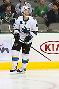 DALLAS, TX - OCTOBER 17:  Tyler Kennedy #81 of the San Jose Sharks looks on against the Dallas Stars on October 17, 2013 at the American Airlines Center in Dallas, Texas.  (Photo by Cooper Neill/Getty Images) *** Local Caption *** Tyler Kennedy