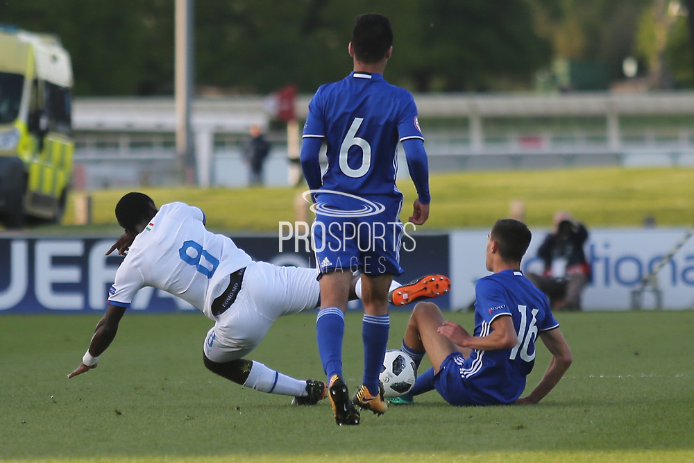 Amit Meir of Israel (16) fouls Manu Emmanuel Gyabuaa of Italy (8) during the UEFA European Under 17 Championship 2018 match between Israel and Italy at St George's Park National Football Centre, Burton-Upon-Trent, United Kingdom on 10 May 2018. Picture by Mick Haynes.