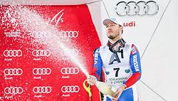 26.01.2016, Planai, Schladming, AUT, FIS Weltcup Ski Alpin, Schladming, Slalom, Herren, Siegerehrung, im Bild Alexander Khoroshilov (RUS, 3. Platz) // 3rd placed Alexander Khoroshilov (RUS) celebrate on Podium during the winner award ceremony of men's Slalom Race of Schladming FIS Ski Alpine World Cup at the Planai in Schladming, Austria on 2016/01/26. EXPA Pictures © 2016, PhotoCredit: EXPA/ Johann Groder