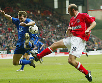 Photo: Scott Heavey<br />Charlton Athletic Vs Everton. 08/02/03.<br />Claus Jensen knocks the ball on to the arm of Evertons Alan Stubbs but referee Mr. Winter gave no penalty during this Premiership clash at The Valley.